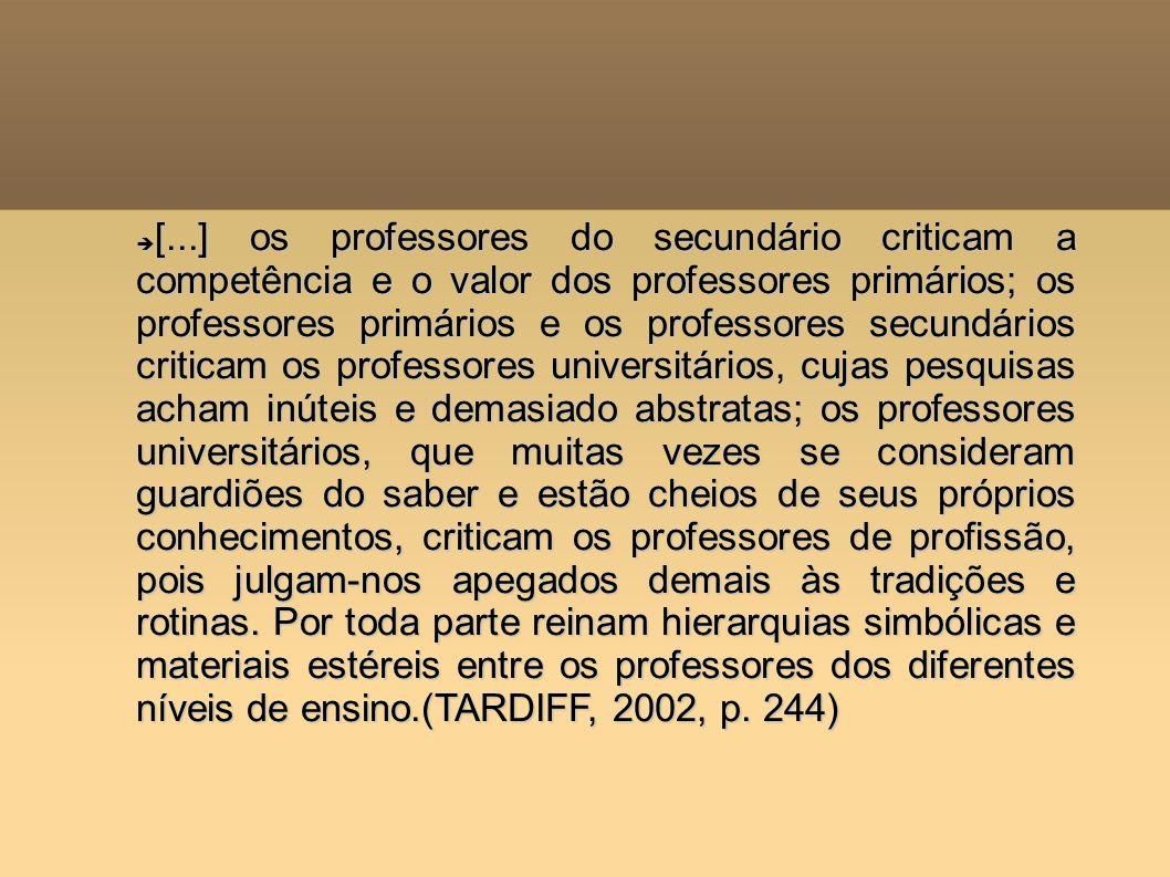 [...] os professores do secundário criticam a competência e o valor dos professores primários; os professores primários e os professores secundários criticam os professores universitários, cujas pesquisas acham inúteis e demasiado abstratas; os professores universitários, que muitas vezes se consideram guardiões do saber e estão cheios de seus próprios conhecimentos, criticam os professores de profissão, pois julgam-nos apegados demais às tradições e rotinas.